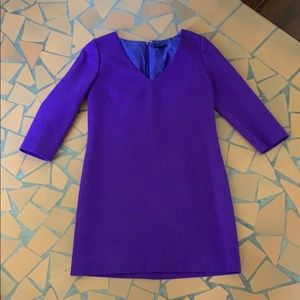 J Crew collection purple wool v neck dress 4